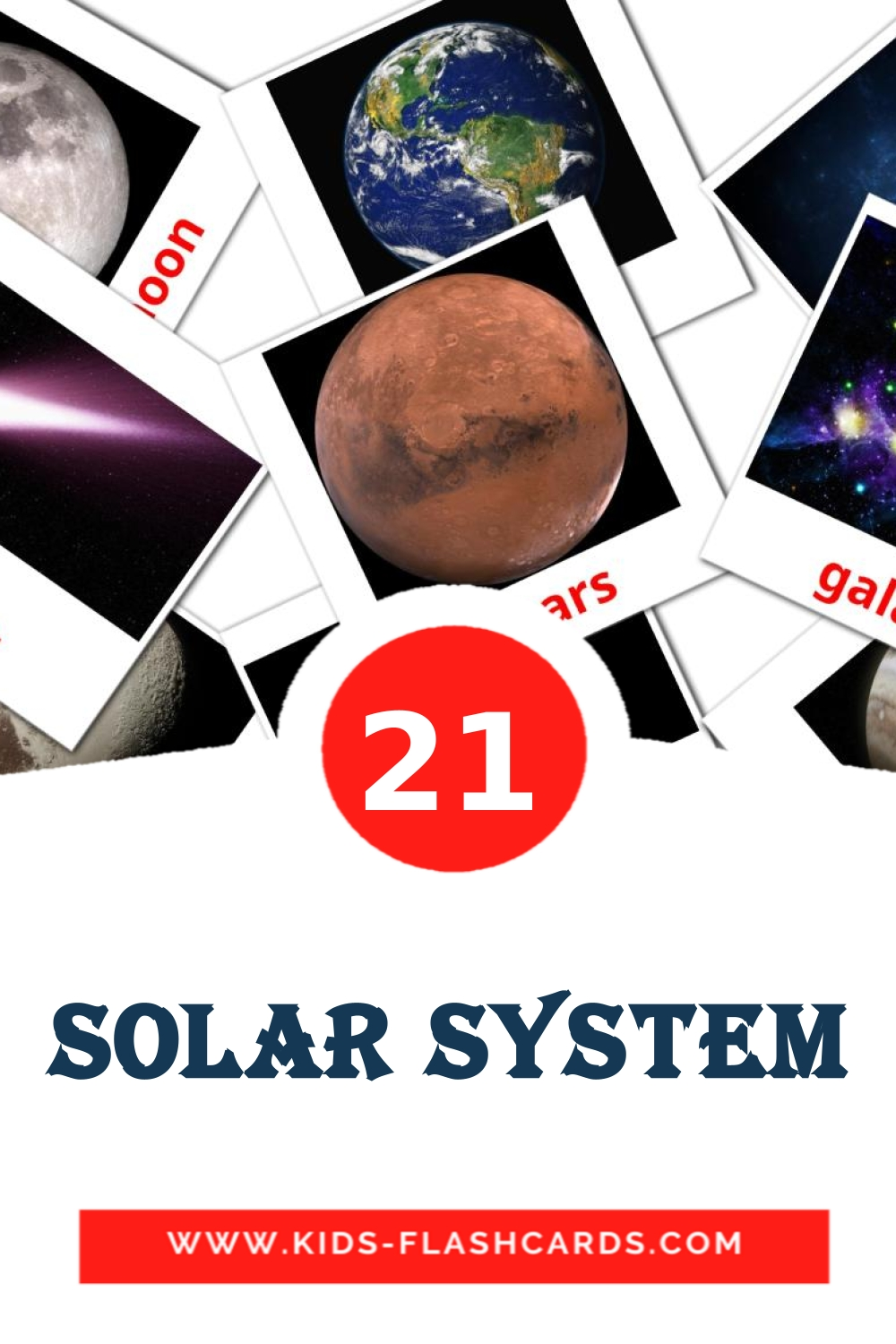 20 Solar System Picture Cards for Kindergarden in english