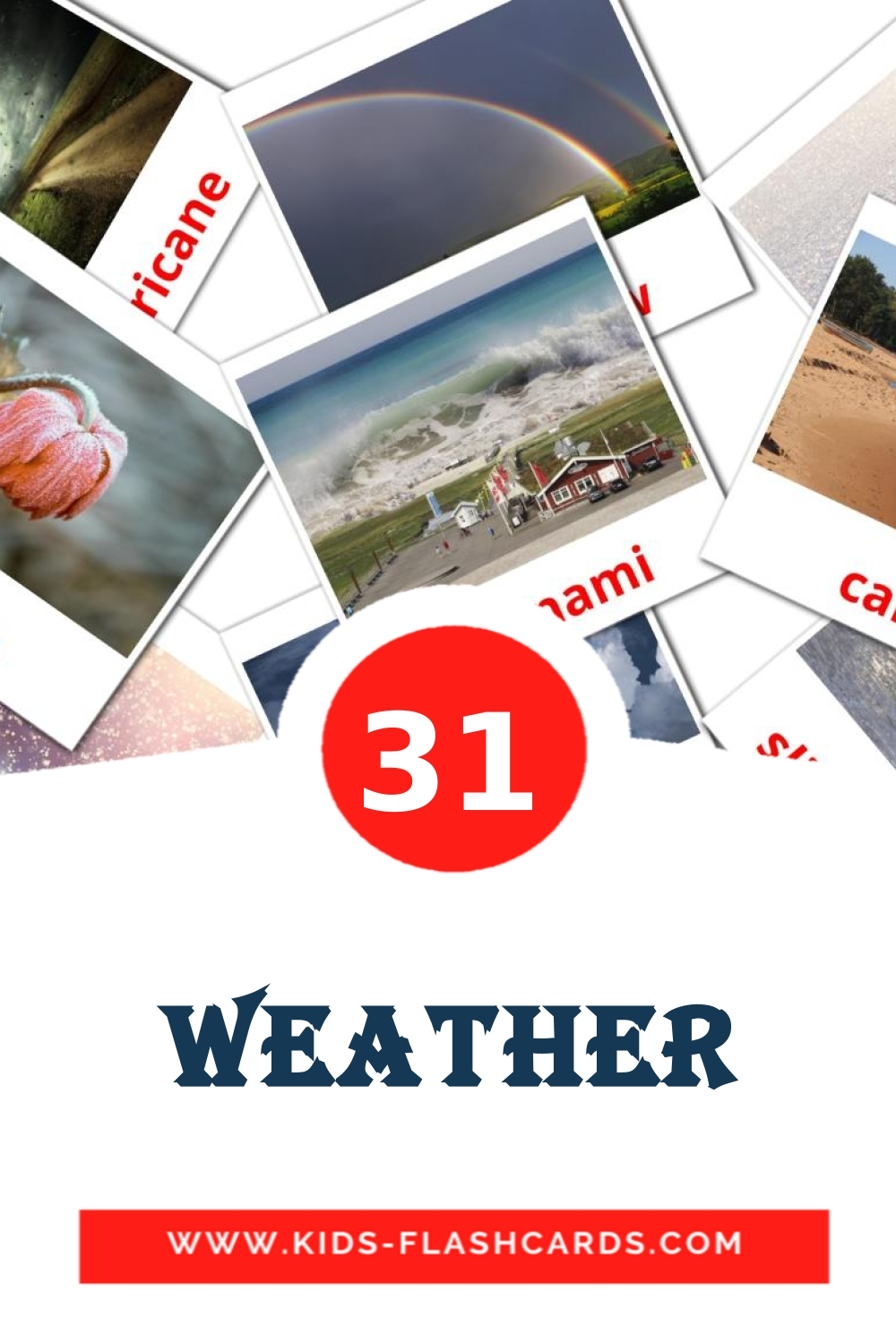 31 Weather Picture Cards for Kindergarden in english