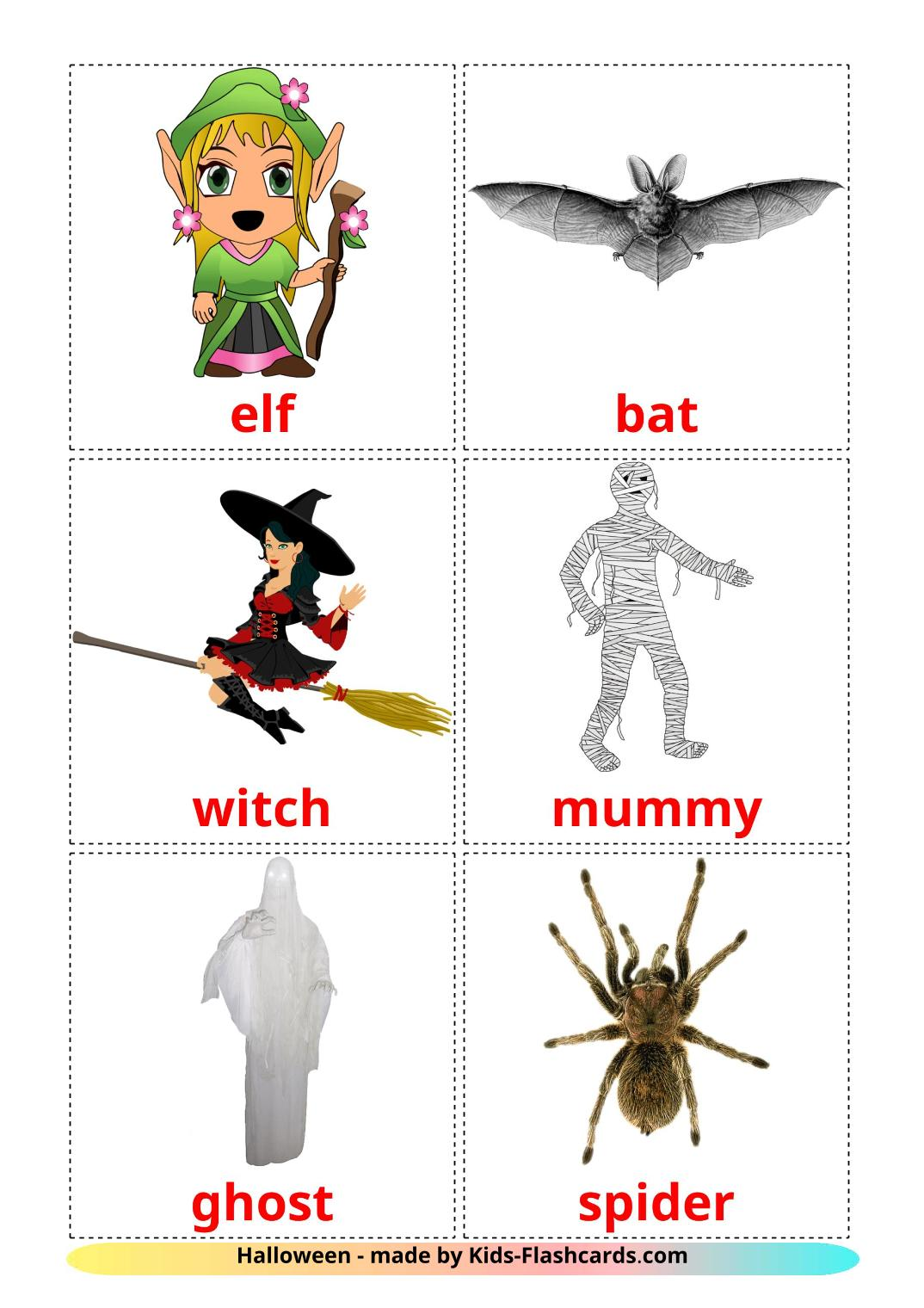 Halloween - 16 Free Printable english Flashcards