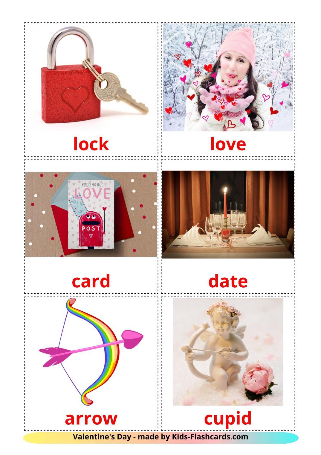 Valentine's Day - 18 Free Printable english Flashcards