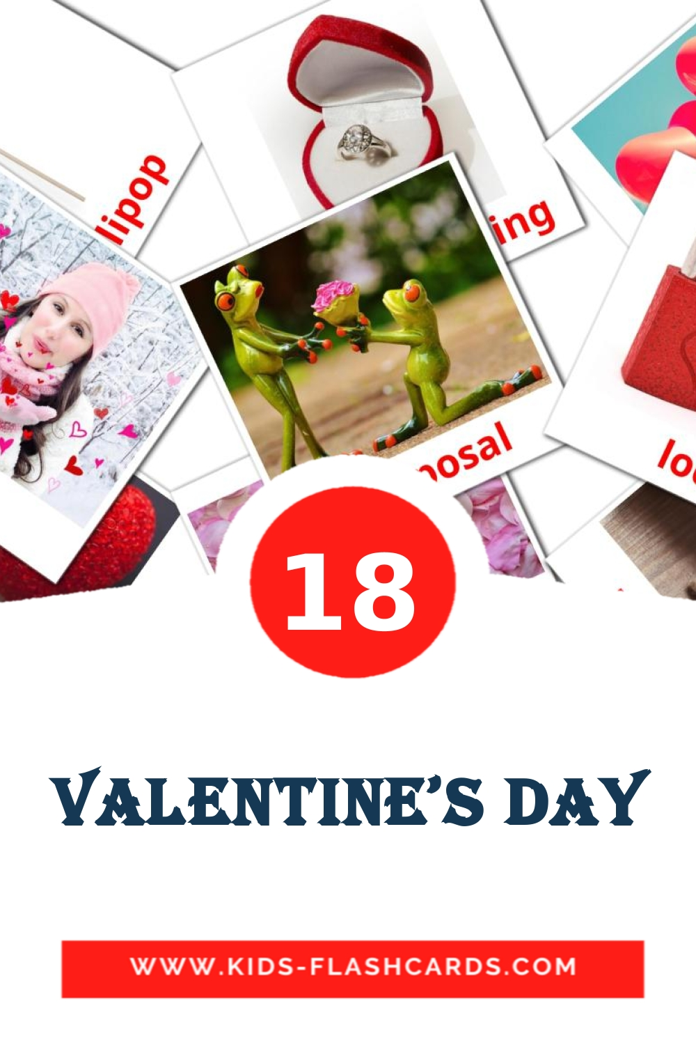 18 Valentine's Day Picture Cards for Kindergarden in english