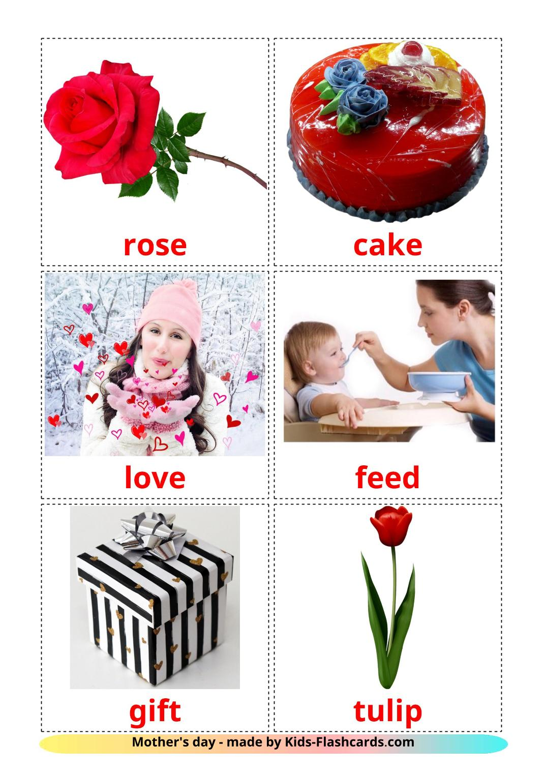 Mother's day - 25 Free Printable english Flashcards