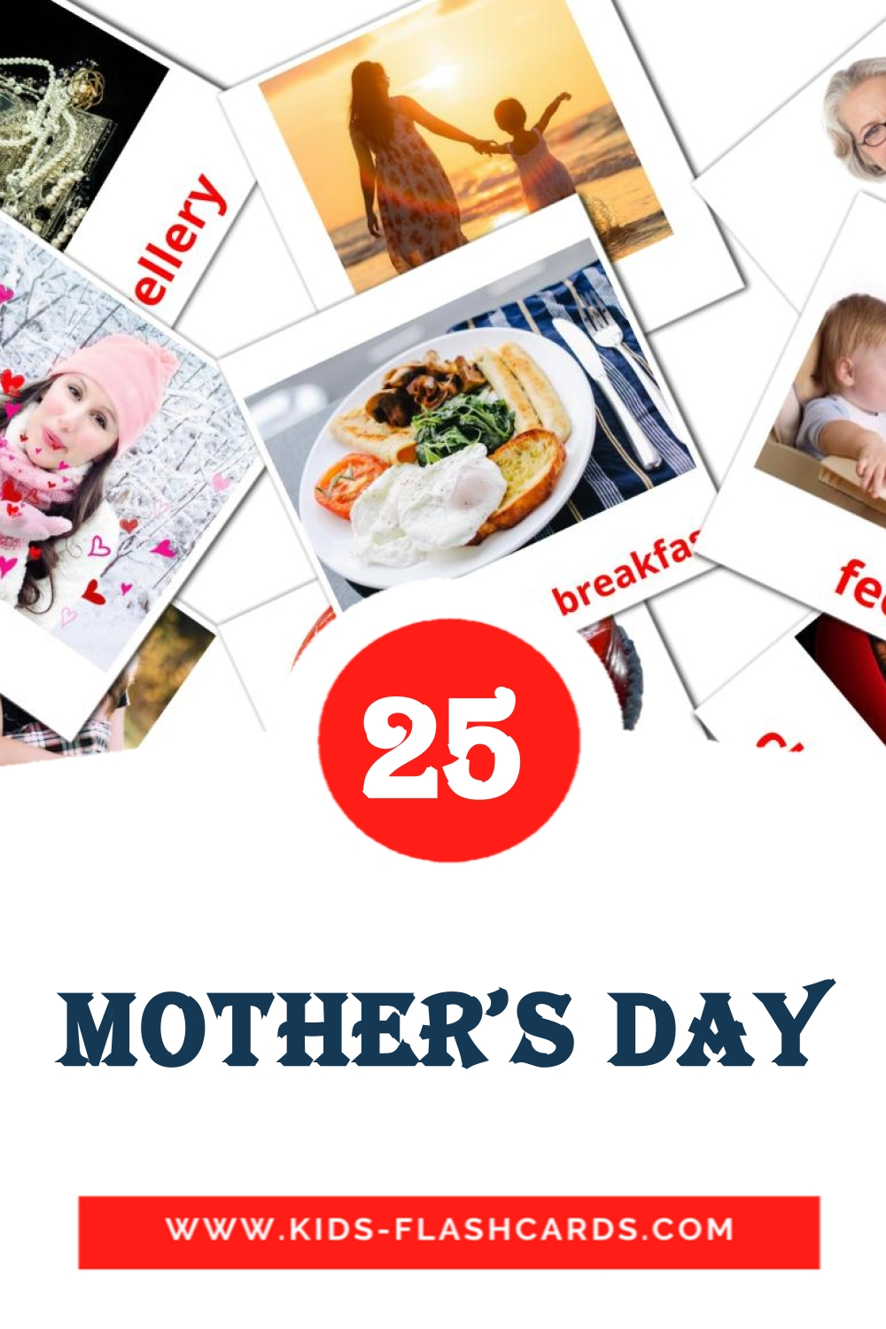 25 Mother's day Picture Cards for Kindergarden in english