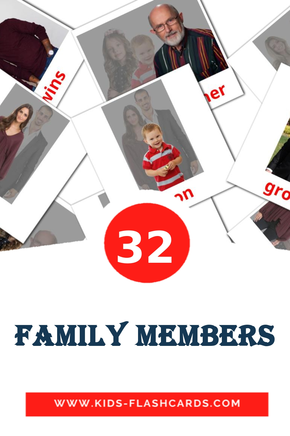 32 Family members Picture Cards for Kindergarden in english