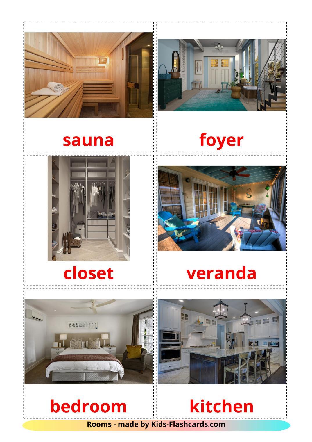 Rooms - 17 Free Printable english Flashcards