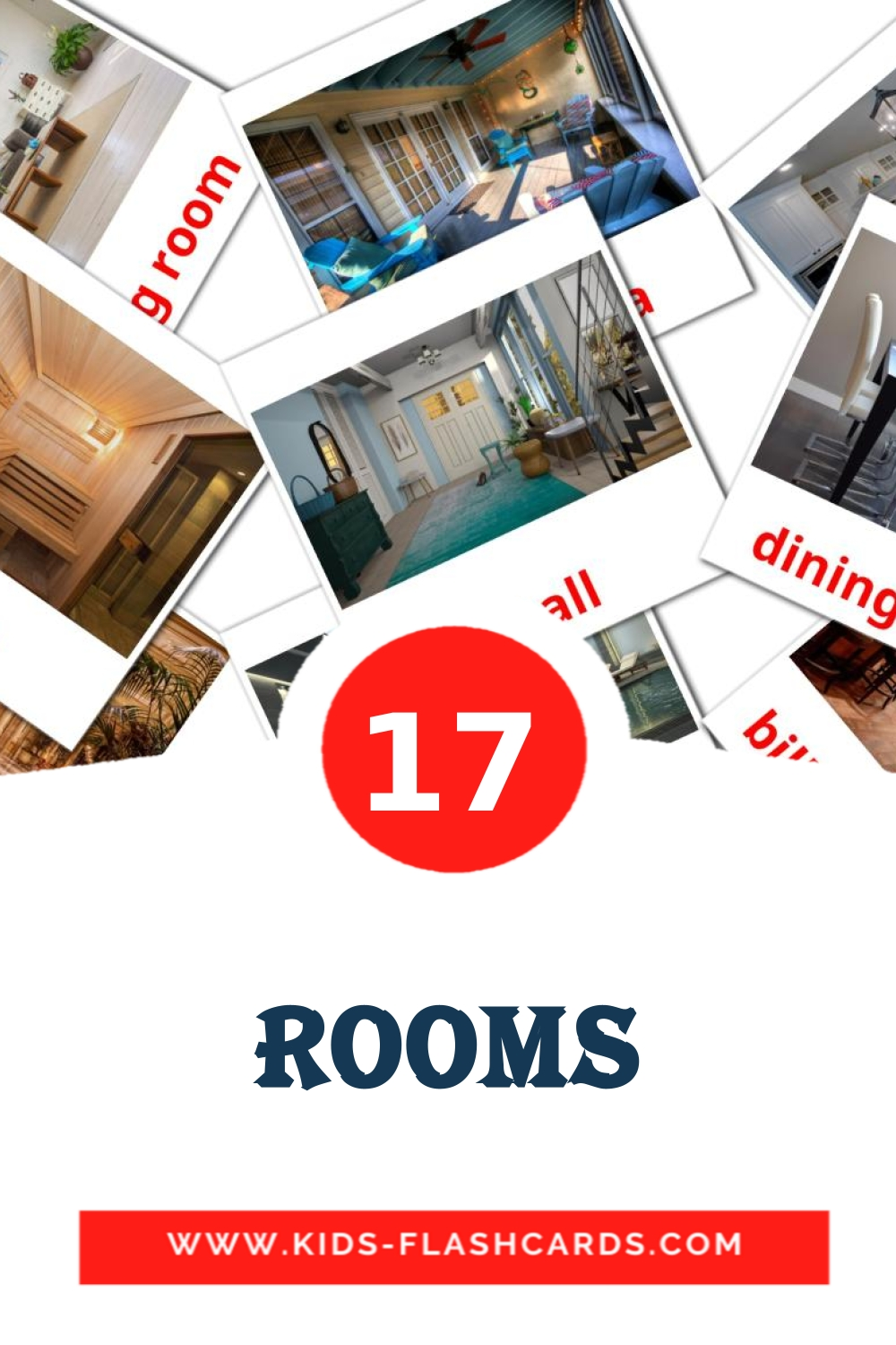 17 Rooms Picture Cards for Kindergarden in english