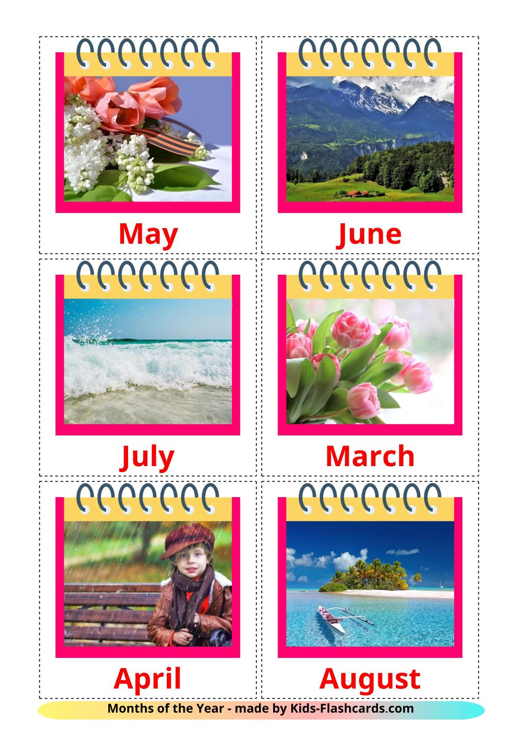 Months of the Year - 12 Free Printable english Flashcards
