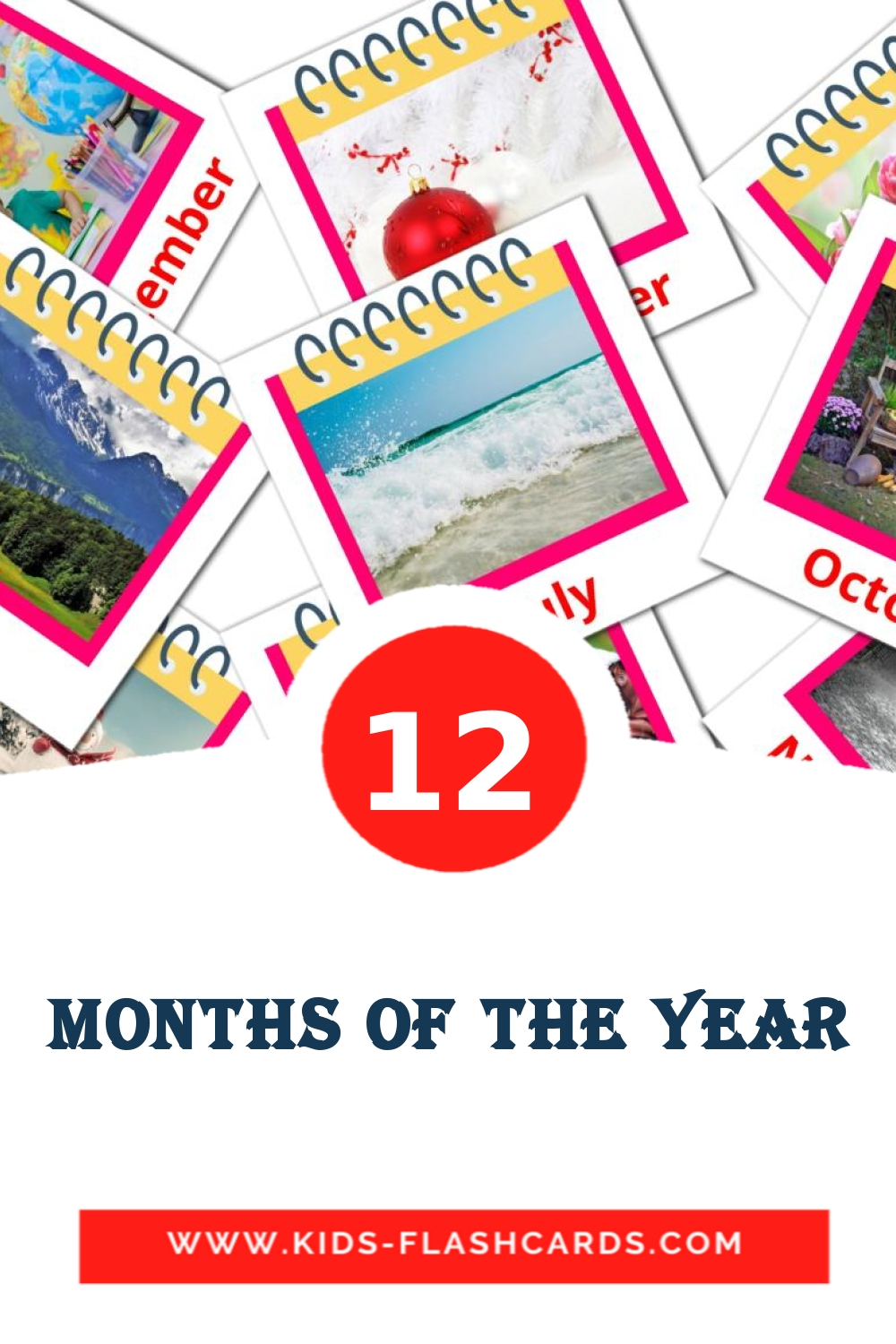 12 Months of the Year Picture Cards for Kindergarden in english