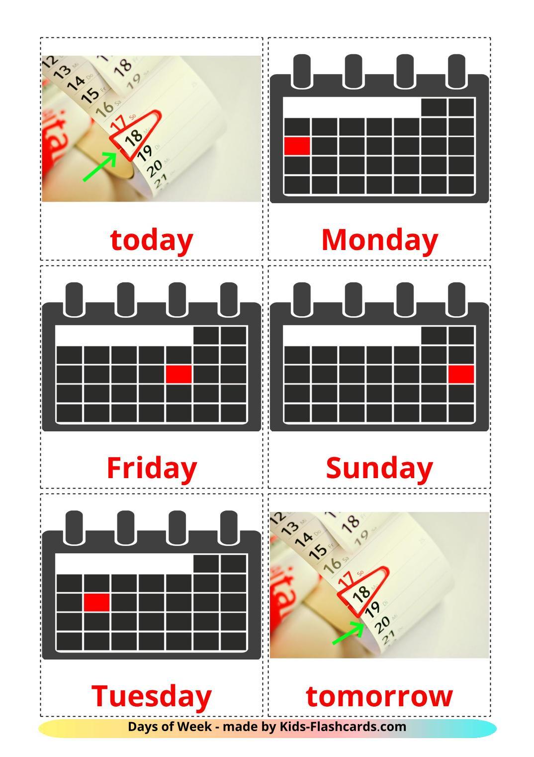Days of Week - 12 Free Printable english Flashcards