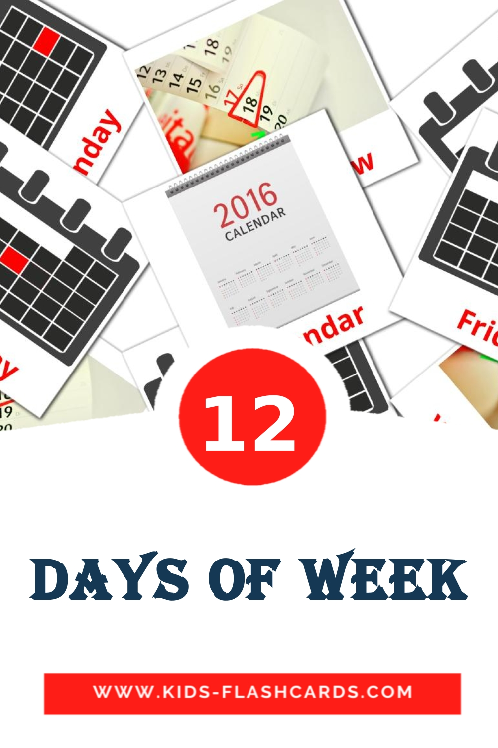12 Days of Week Picture Cards for Kindergarden in english