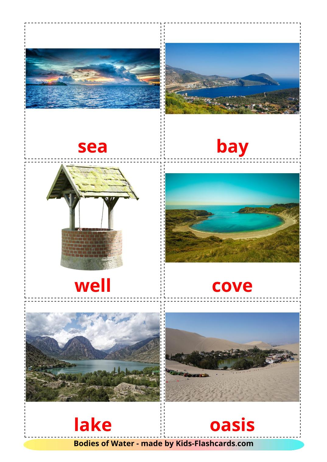 Bodies of Water - 30 Free Printable english Flashcards