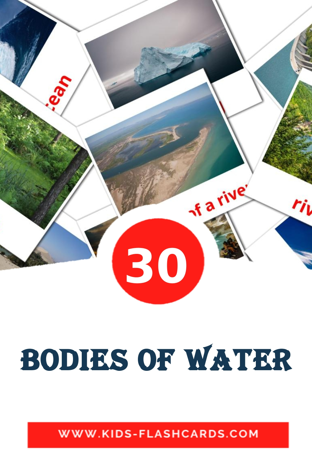 30 Bodies of Water Picture Cards for Kindergarden in english