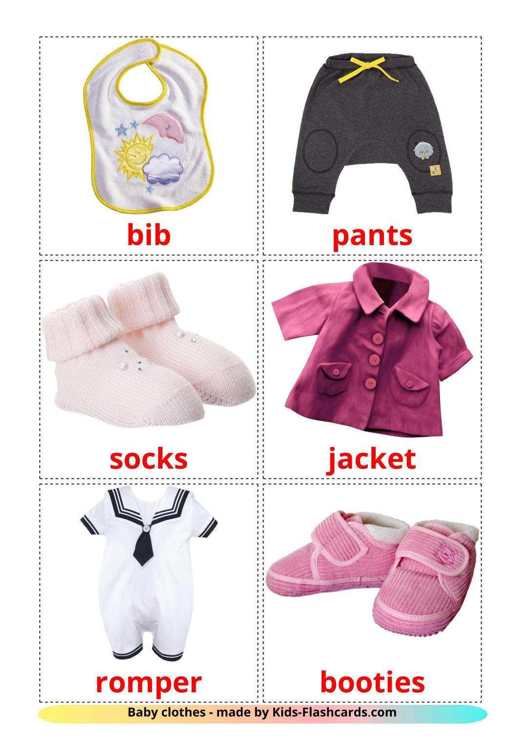 Baby clothes - 12 Free Printable english Flashcards