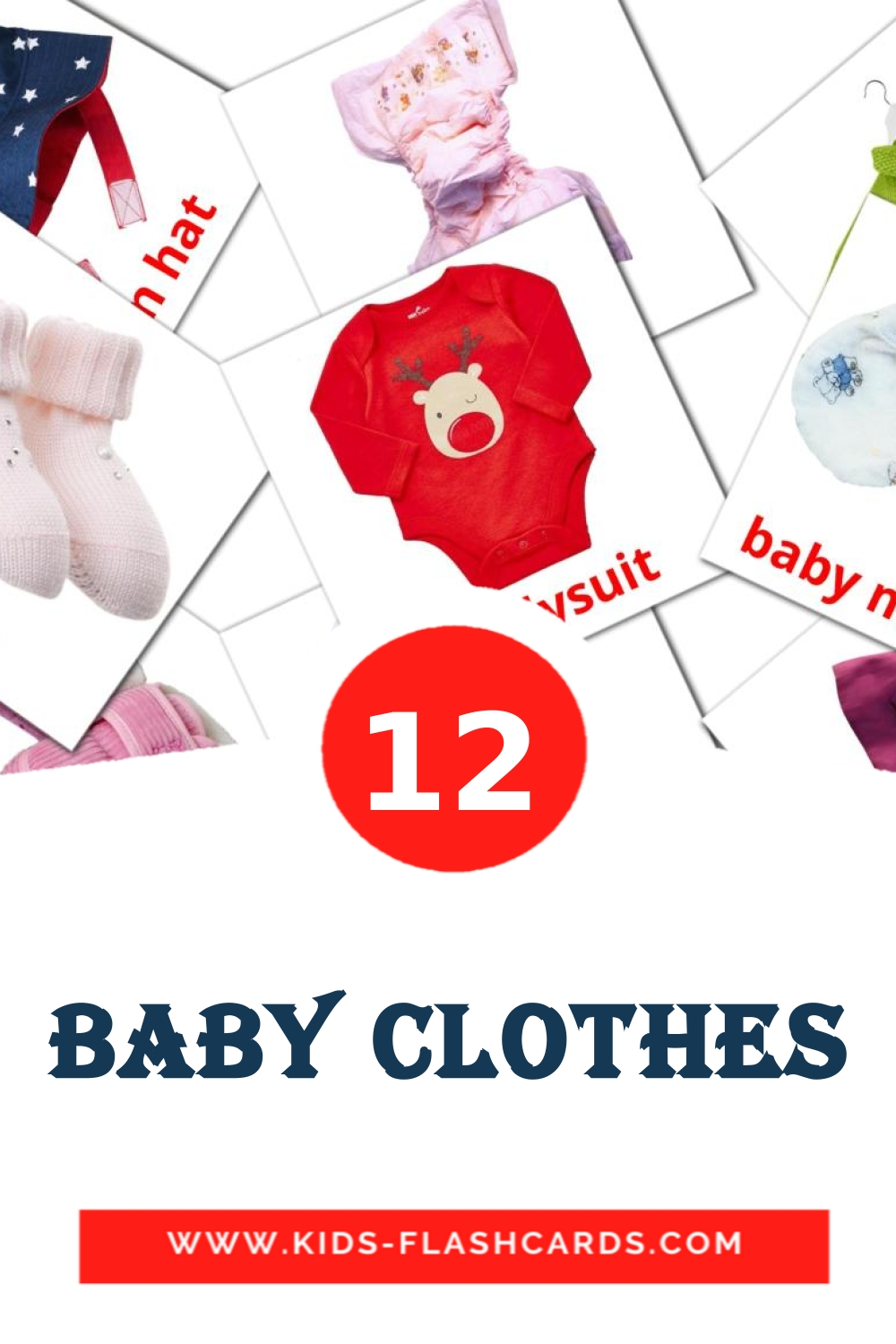 12 Baby clothes Picture Cards for Kindergarden in english