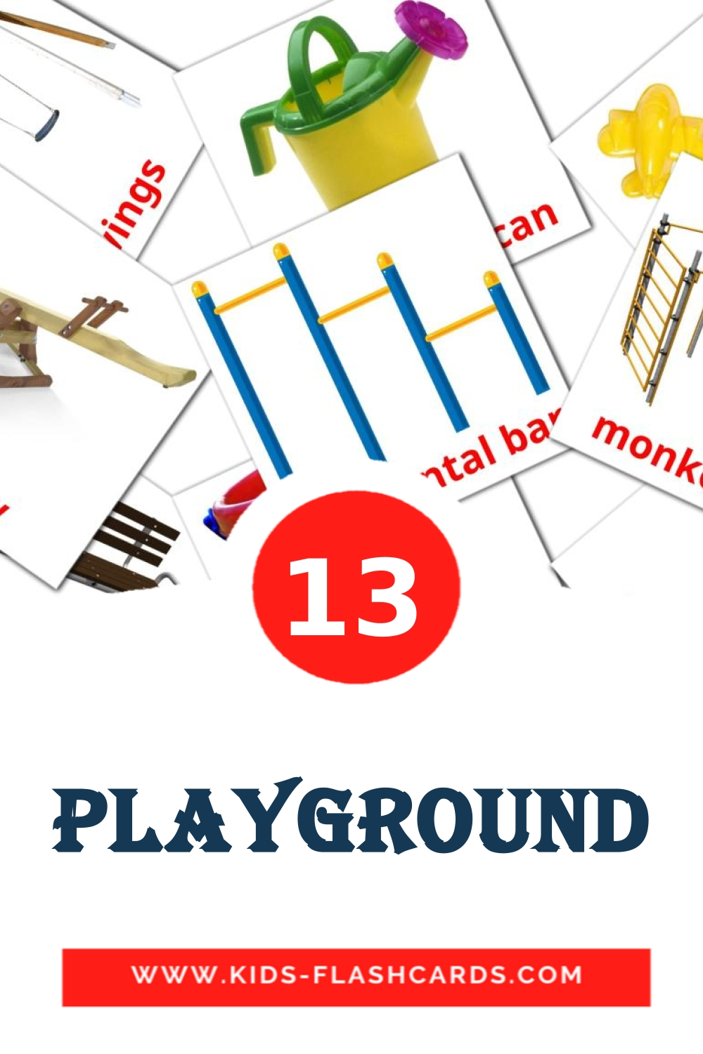 13 Playground Picture Cards for Kindergarden in english