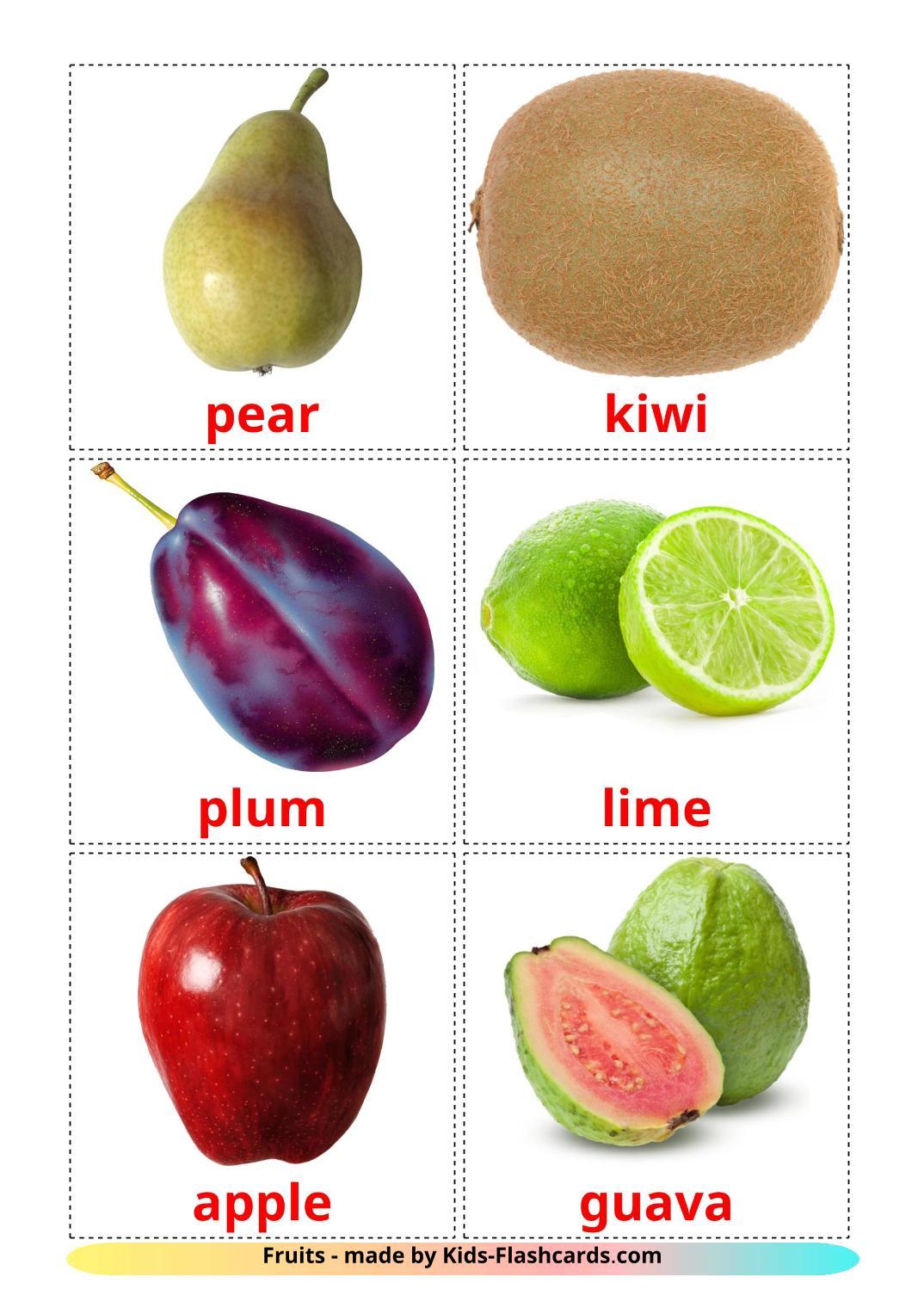 Fruits - 20 Free Printable english Flashcards