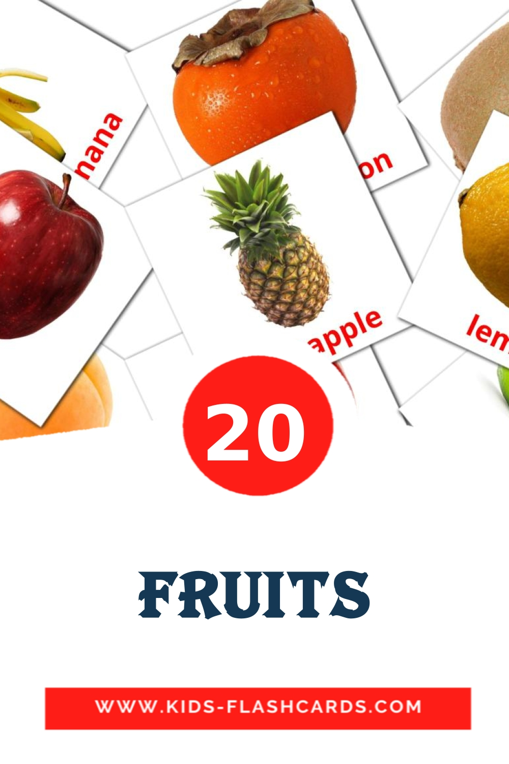 20 Fruits Picture Cards for Kindergarden in english