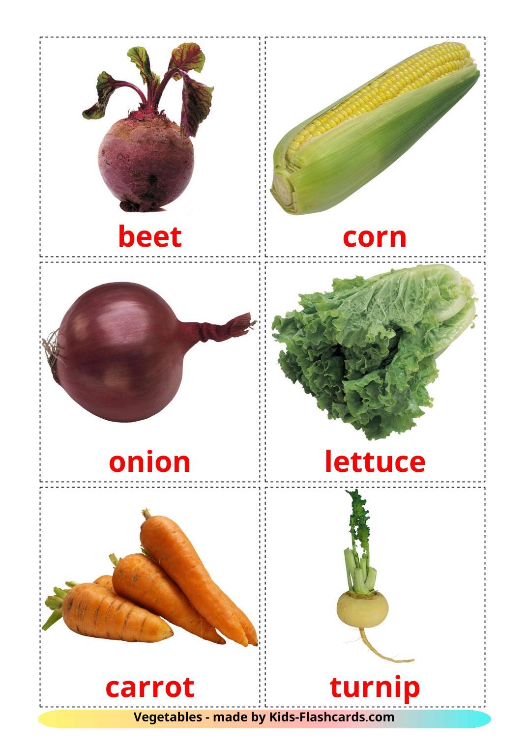 Vegetables - 29 Free Printable english Flashcards