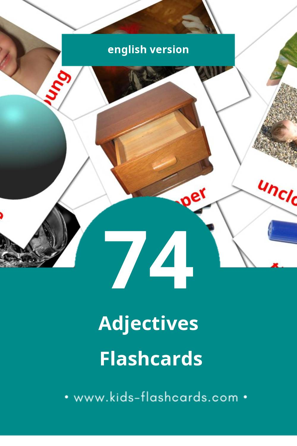 Visual Adjectives Flashcards for Toddlers (74 cards in English)