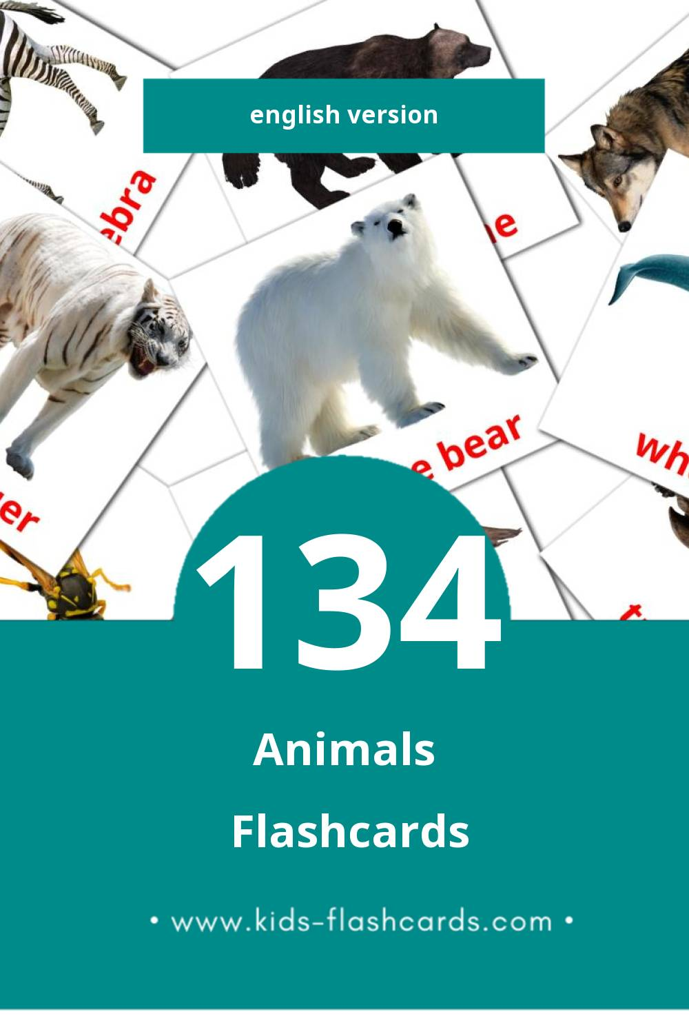 Visual Animals Flashcards for Toddlers (134 cards in English)