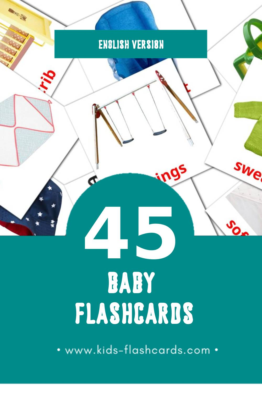 Visual Baby Flashcards for Toddlers (45 cards in English)
