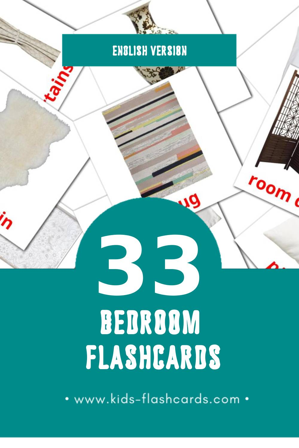 Visual Bedroom Flashcards for Toddlers (33 cards in English)
