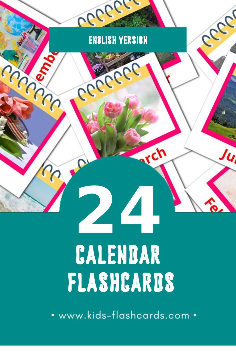 Visual Calendar Flashcards for Toddlers (24 cards in English)