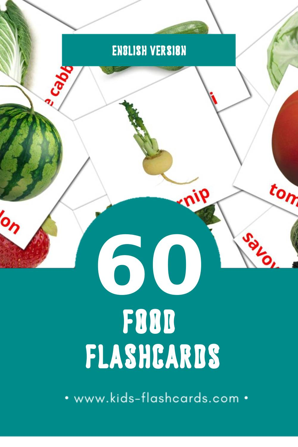 Visual Food Flashcards for Toddlers (60 cards in English)