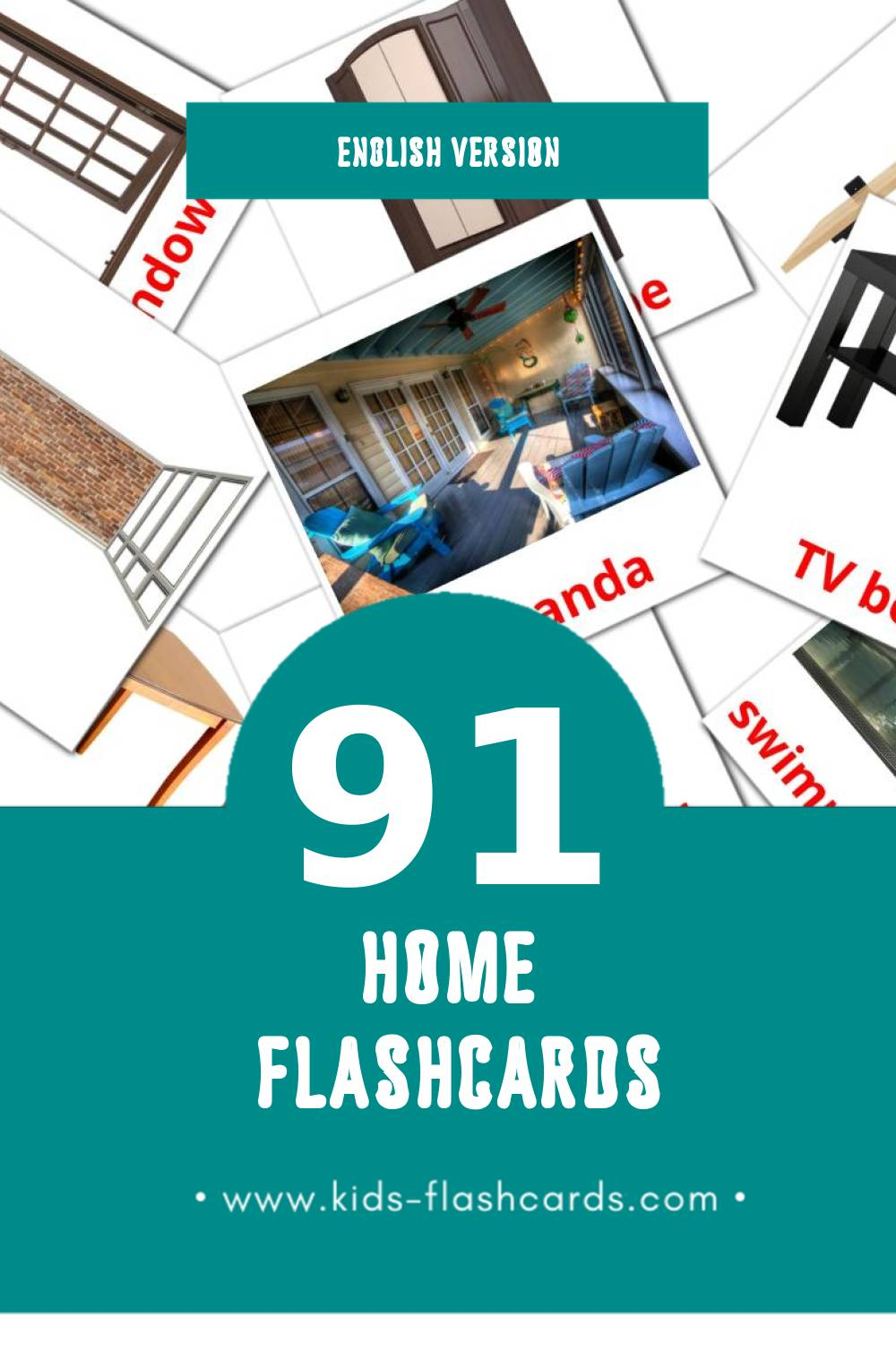 Visual Home Flashcards for Toddlers (74 cards in English)