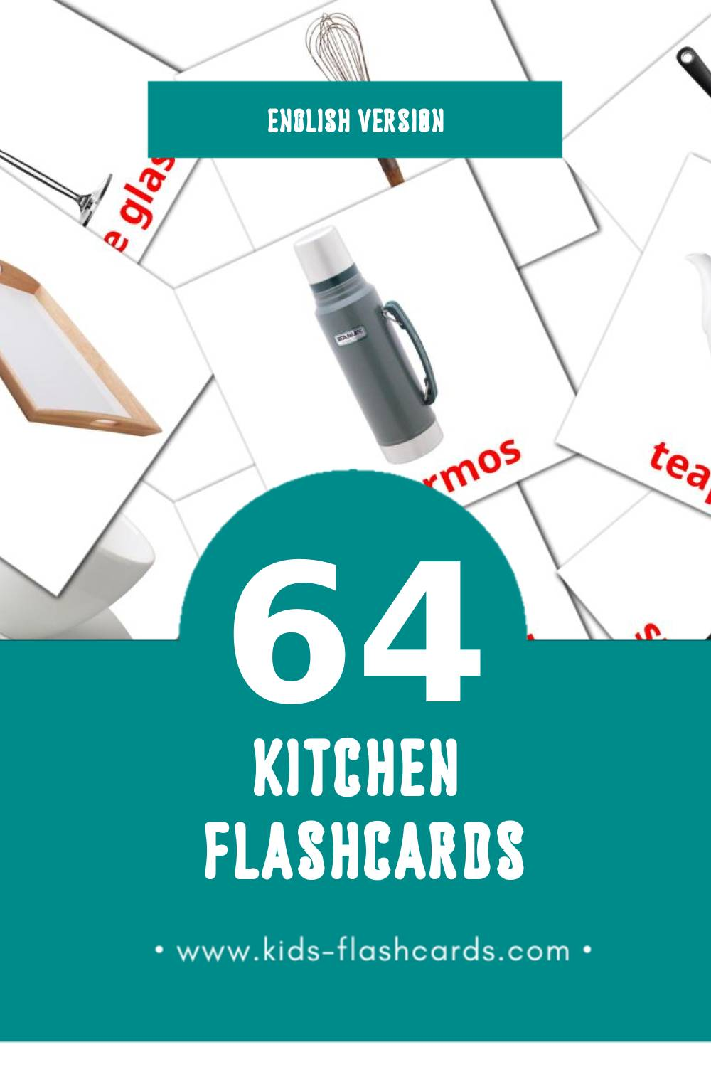 Visual Kitchen Flashcards for Toddlers (64 cards in English)