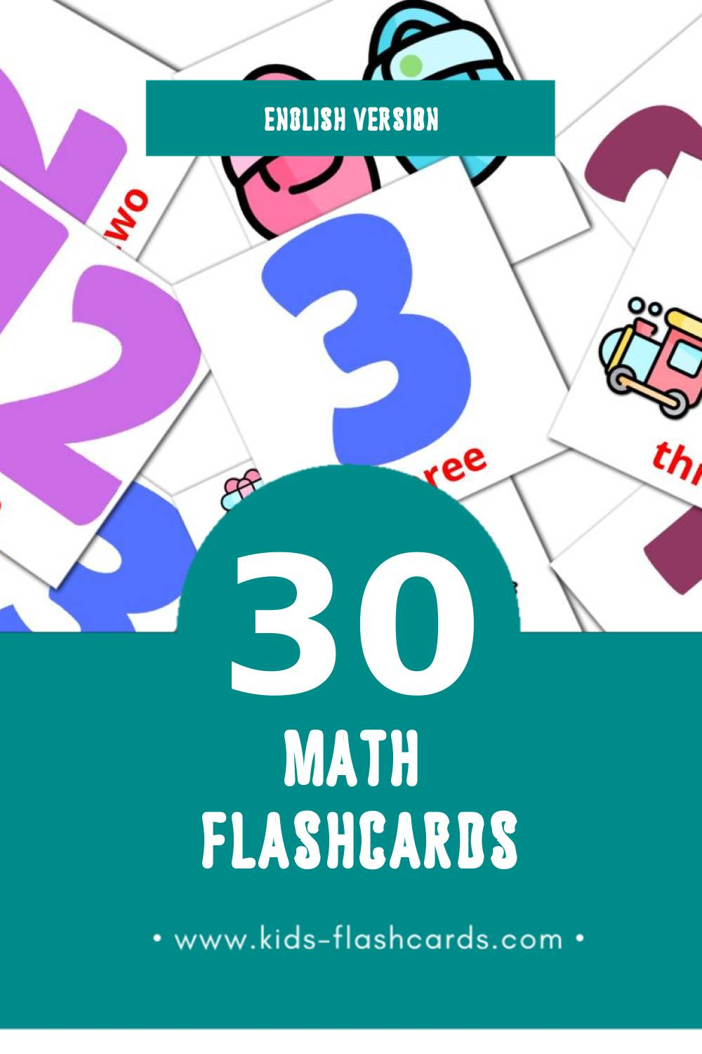 Visual Math Flashcards for Toddlers (30 cards in English)