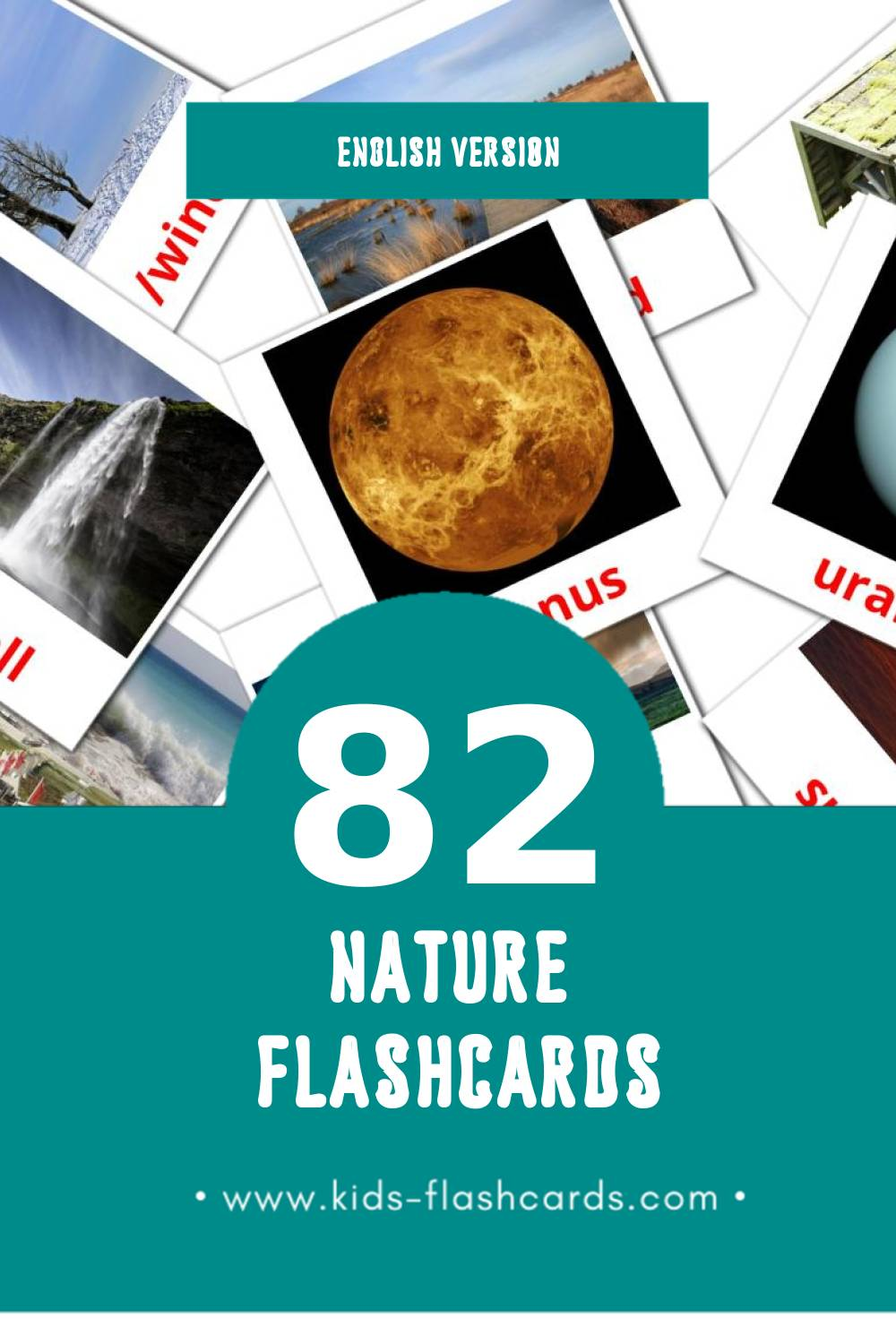 Visual Nature Flashcards for Toddlers (51 cards in English)