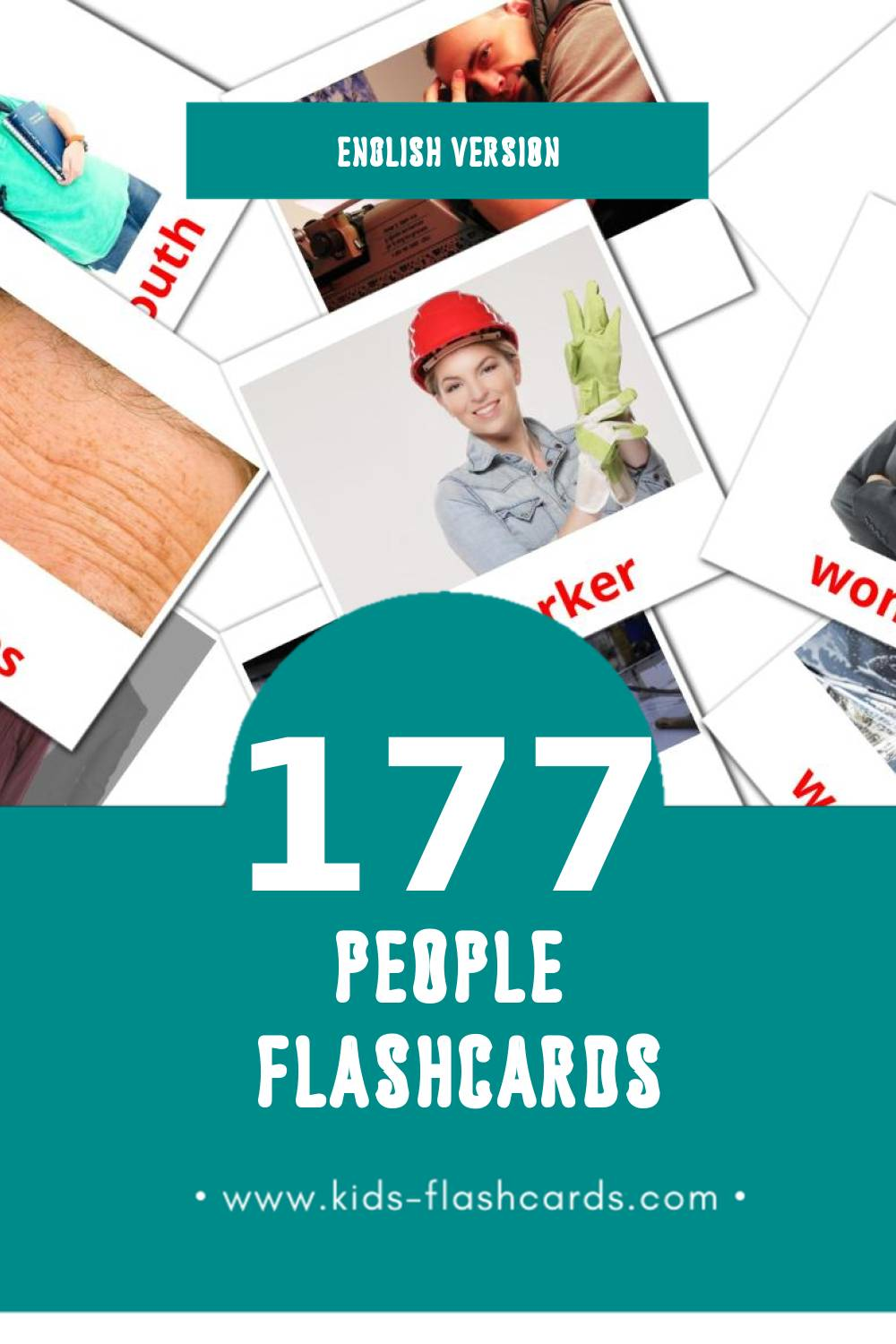 Visual People Flashcards for Toddlers (177 cards in English)