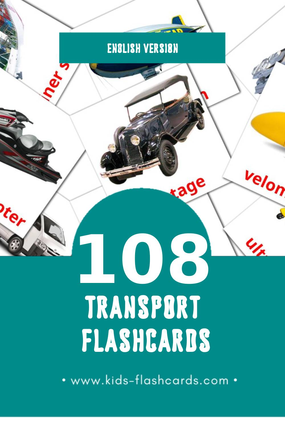 Visual Transport Flashcards for Toddlers (108 cards in English)