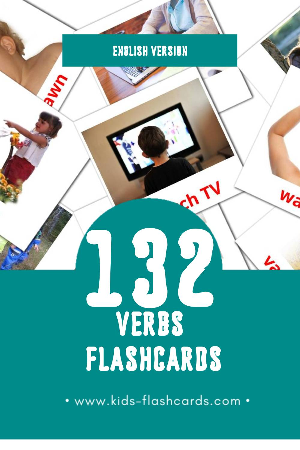Visual Verbs Flashcards for Toddlers (133 cards in English)