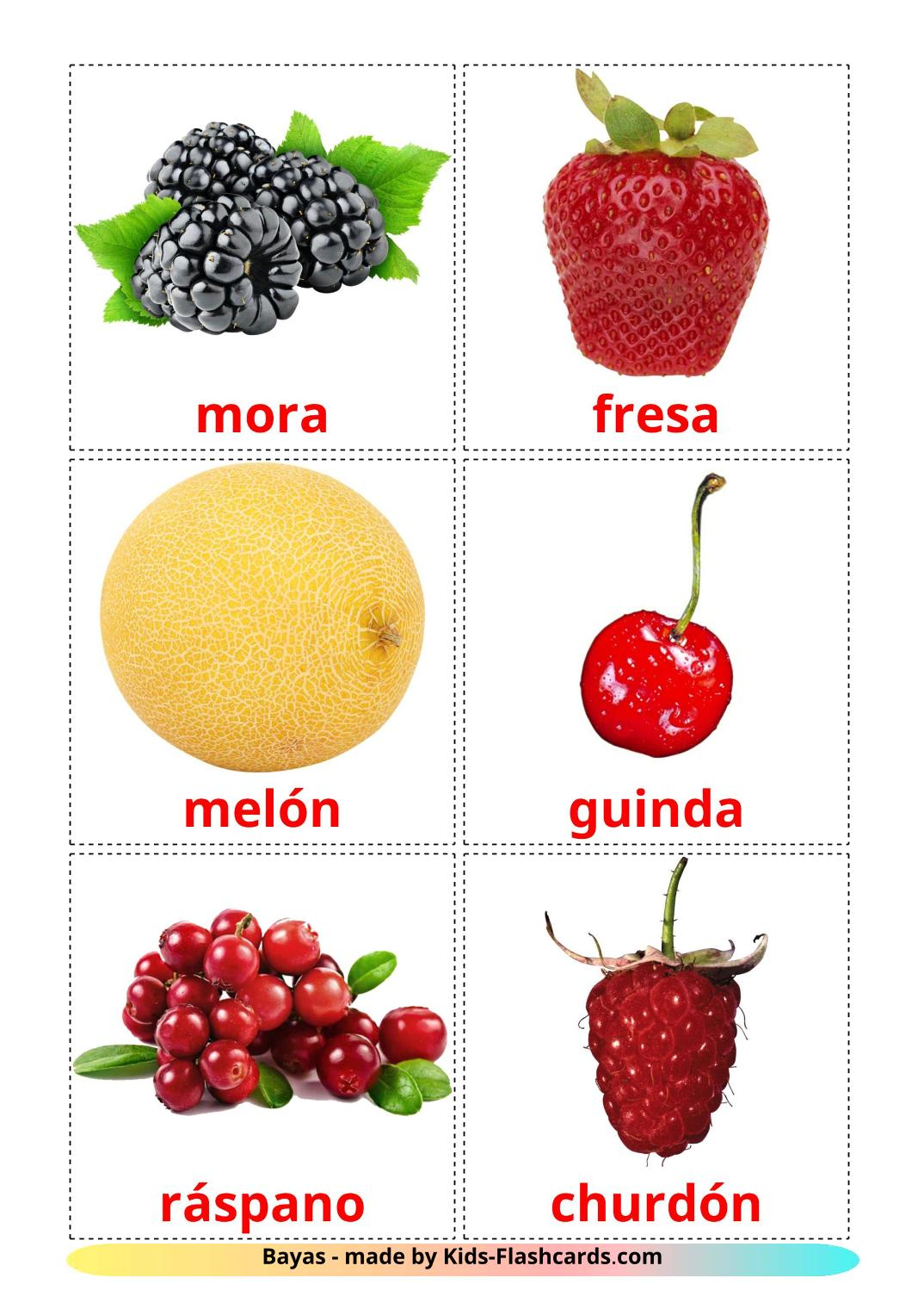 Berries - 11 Free Printable spanish Flashcards