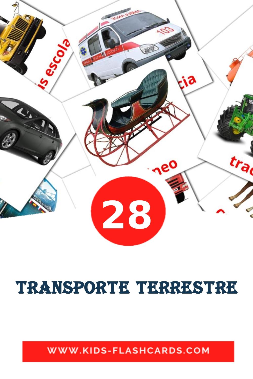 28 Transporte terrestre Picture Cards for Kindergarden in spanish