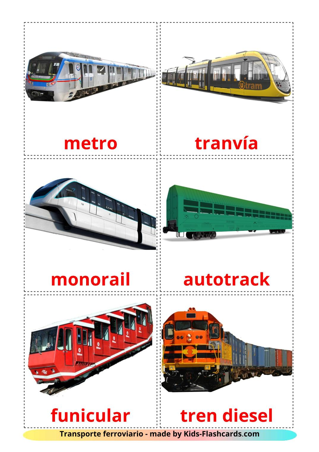 Rail transport - 18 Free Printable spanish Flashcards