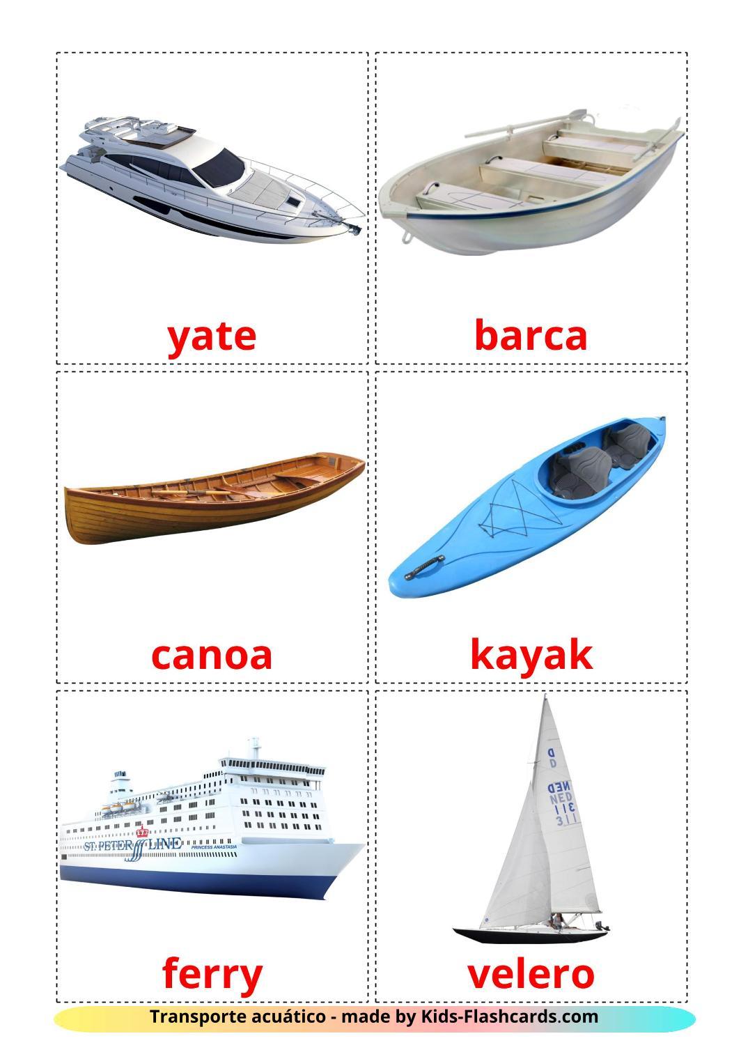 Water transport - 18 Free Printable spanish Flashcards