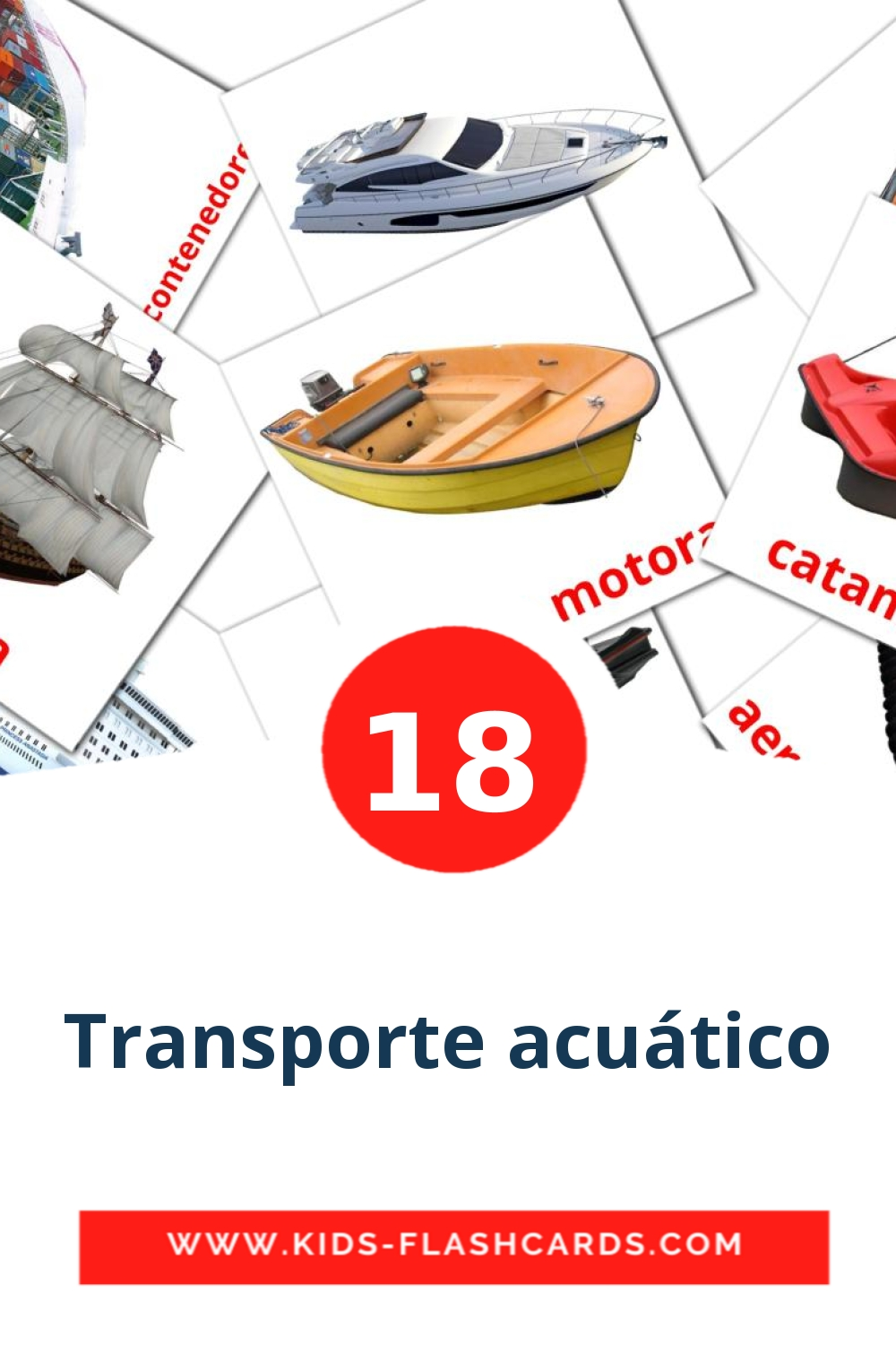 18 Transporte acuático Picture Cards for Kindergarden in spanish