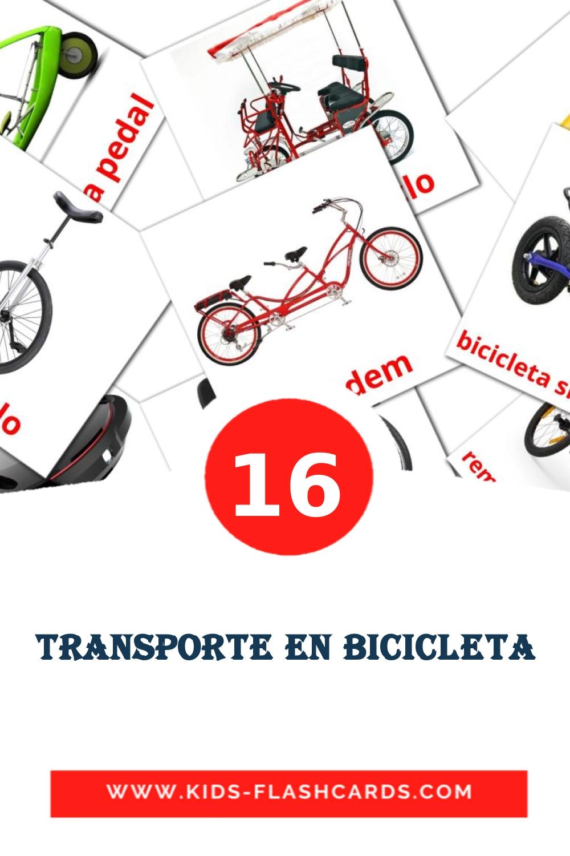 16 Transporte en Bicicleta Picture Cards for Kindergarden in spanish