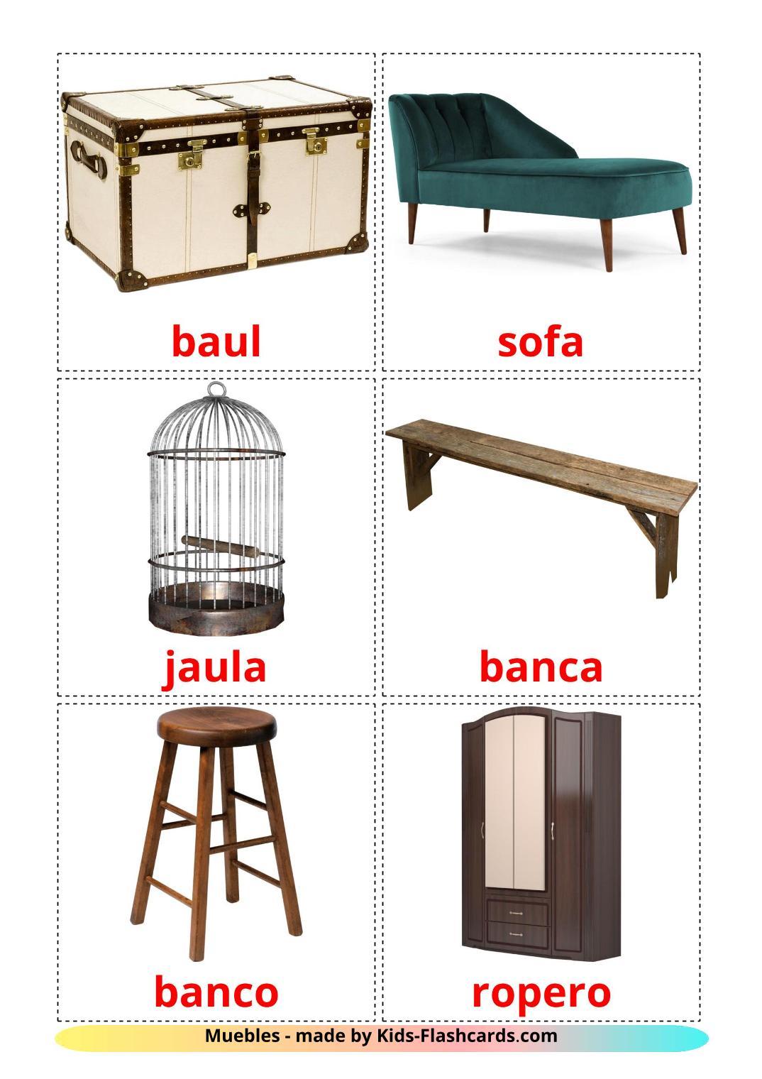Furniture - 31 Free Printable spanish Flashcards