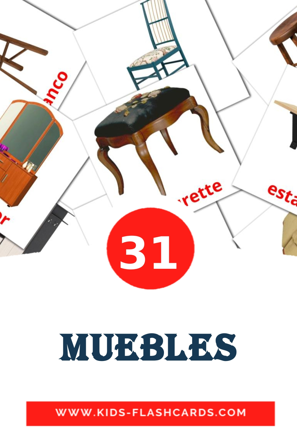 31 Muebles Picture Cards for Kindergarden in spanish