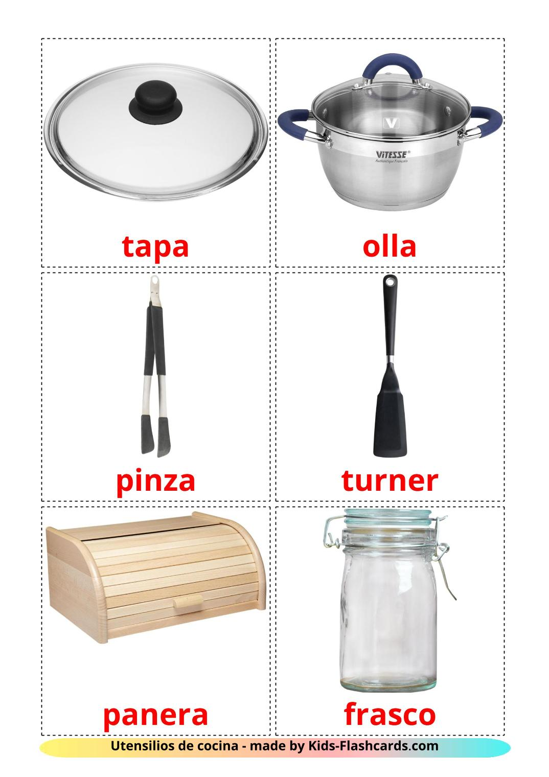 Kitchenware - 35 Free Printable spanish Flashcards