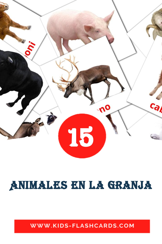 15 Animales en la Granja  Picture Cards for Kindergarden in spanish
