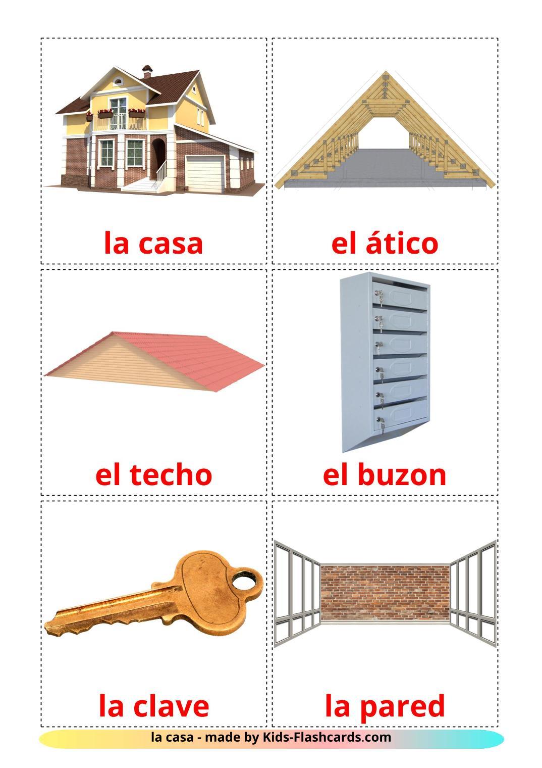 House - 25 Free Printable spanish Flashcards
