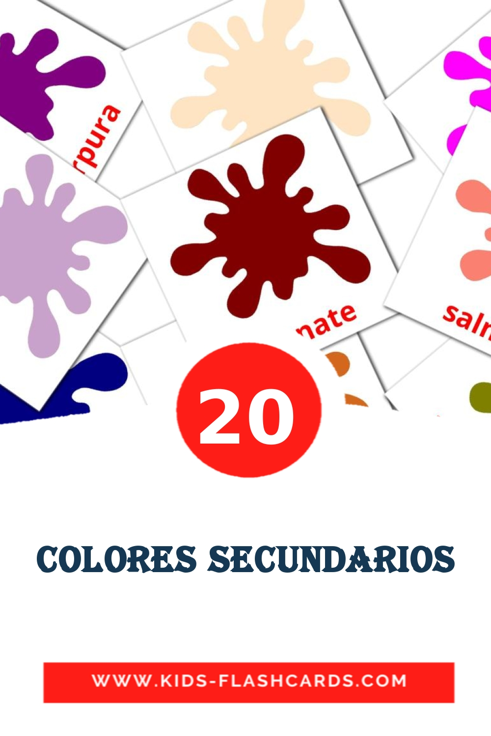 20 Colores secundarios Picture Cards for Kindergarden in spanish