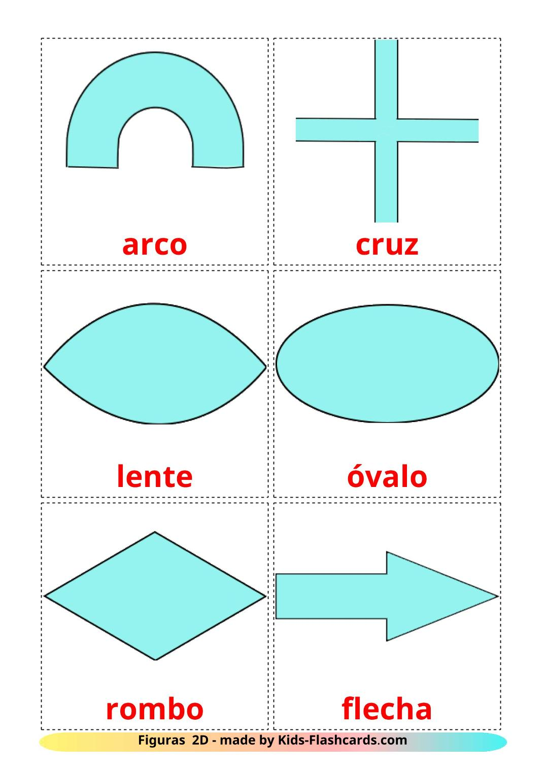 2D Shapes - 35 Free Printable spanish Flashcards