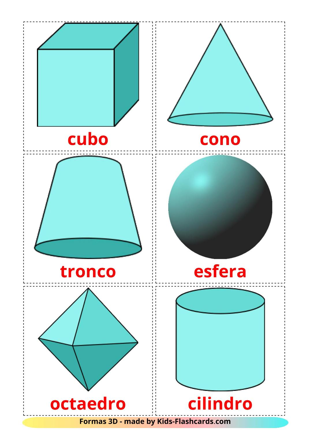 3D Shapes - 17 Free Printable spanish Flashcards