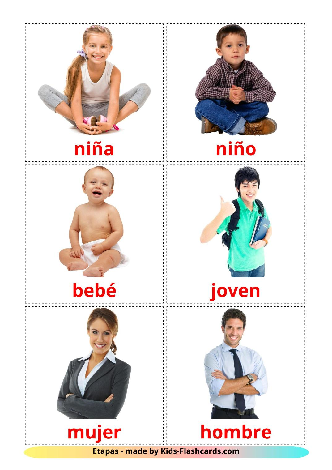 Stages - 12 Free Printable spanish Flashcards